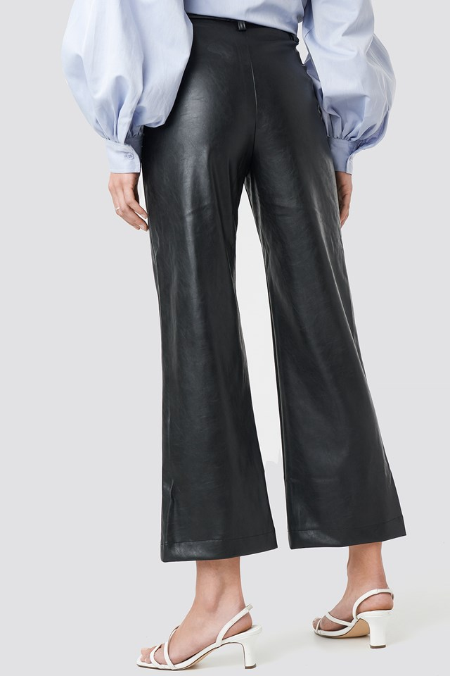 Wide Leg PU Pants Black