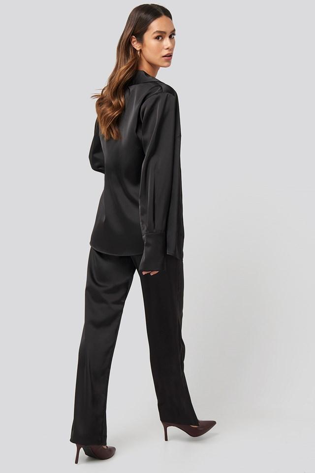 Wide Leg Satin Suit Pants NA-KD Trend