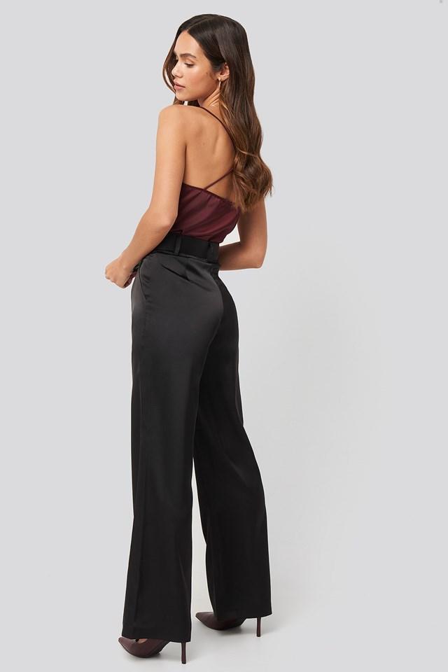Wide Leg Satin Suit Pants Black