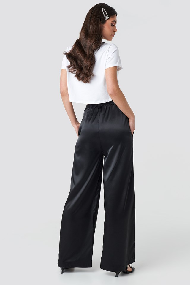 Wide Leg Satin Trousers Deep Black