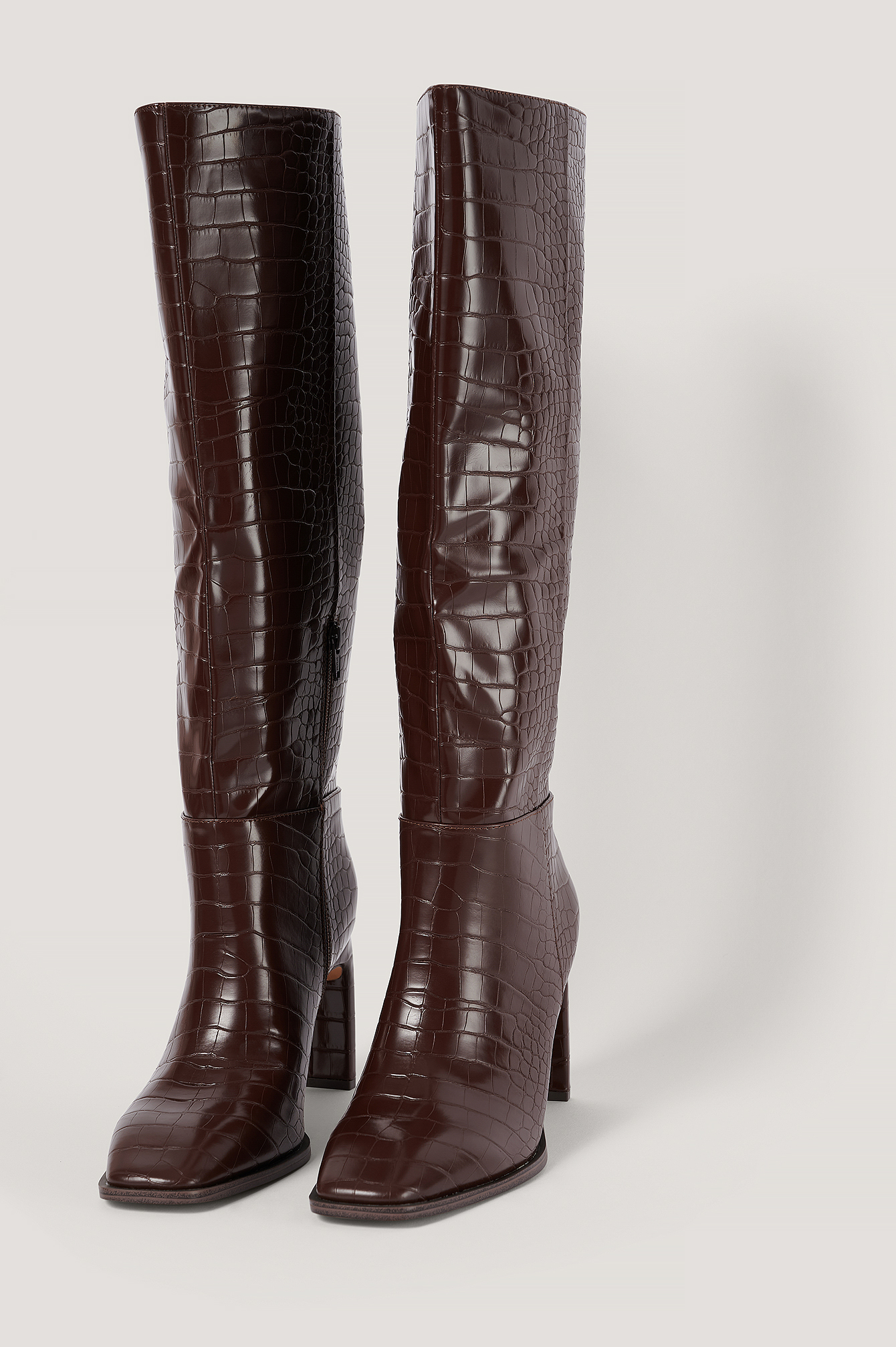 Brown Wide Shaft Squared Toe Boots