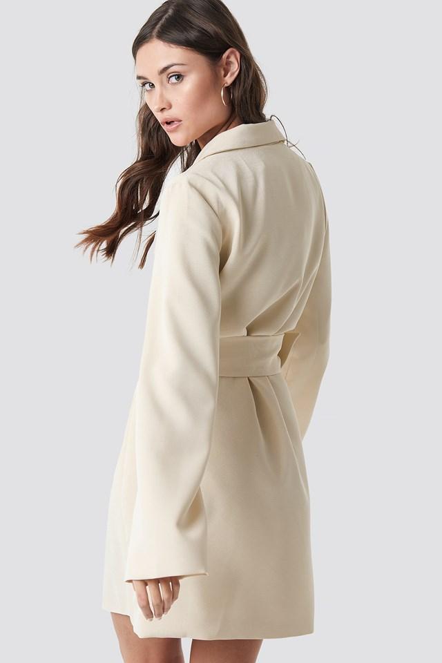 Wide Sleeve Belted Blazer Dress Off White