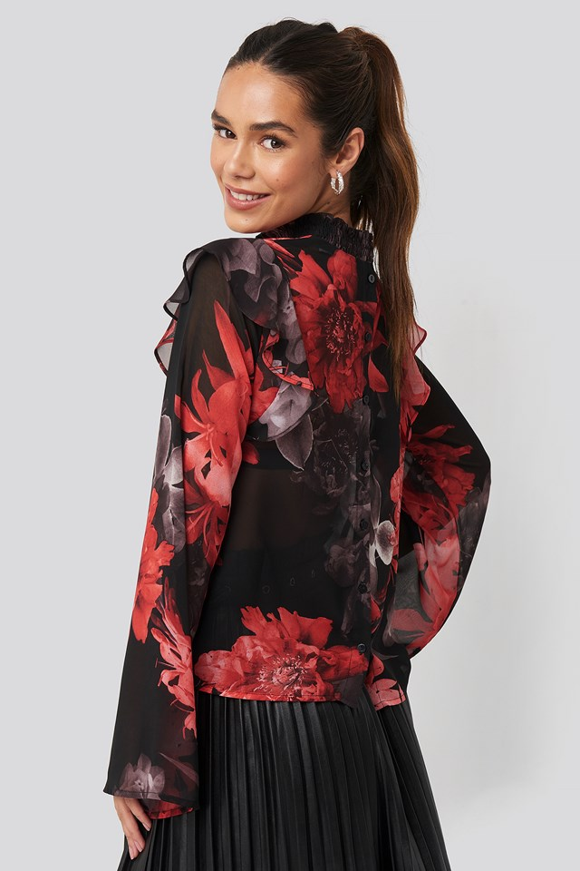 Wide Sleeve Frill Blouse Floral Print