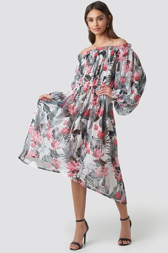 Wide Sleeve Off Shoulder ankle Dress Big Flower Print