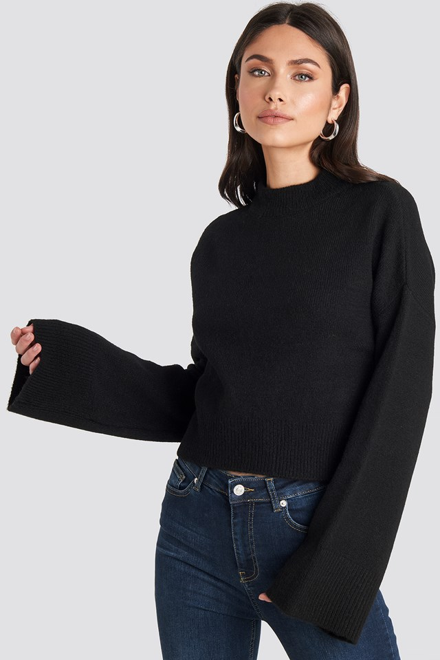Wide Sleeve Round Neck Knitted Sweater NA-KD