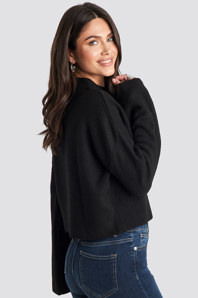 Wide Sleeve Round Neck Knitted Sweater Black