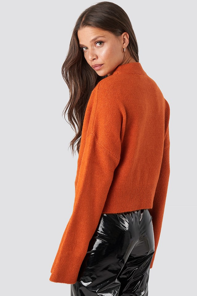 Wide Sleeve Round Neck Knitted Sweater Rust
