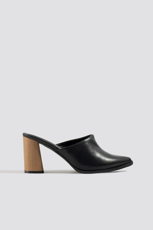 Wooden Heel Mules Black