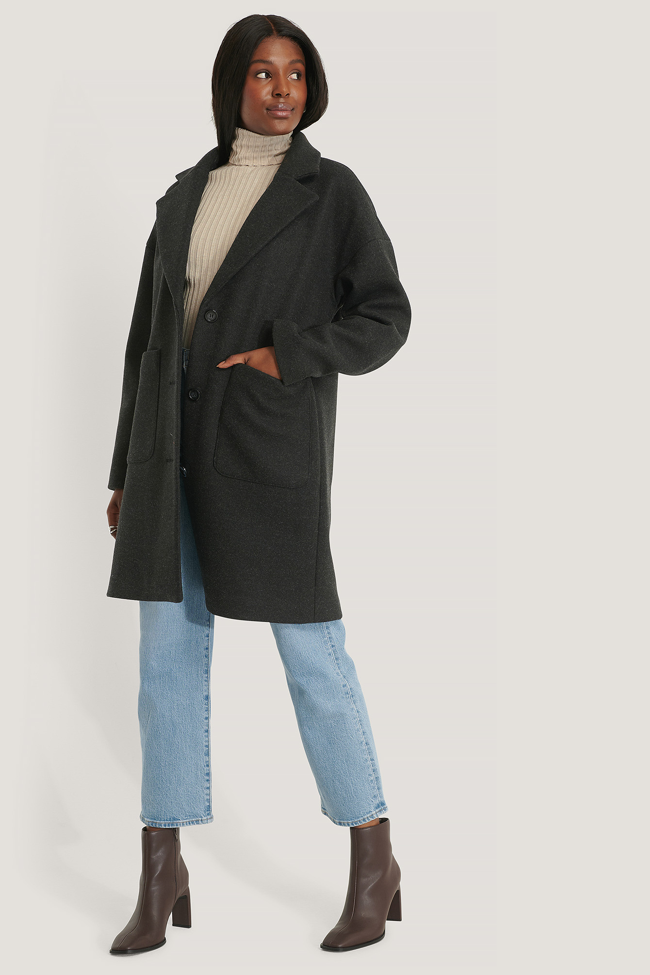 Black Wool Blend Dropped Shoulder Coat