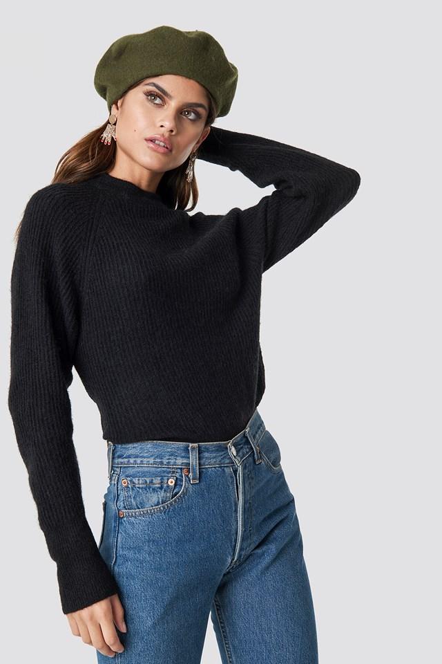 Wool Blend Raglan Sleeve Sweater Black
