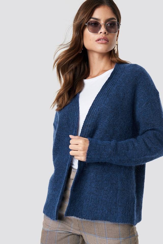 Wool Blend Short Cardigan Blue