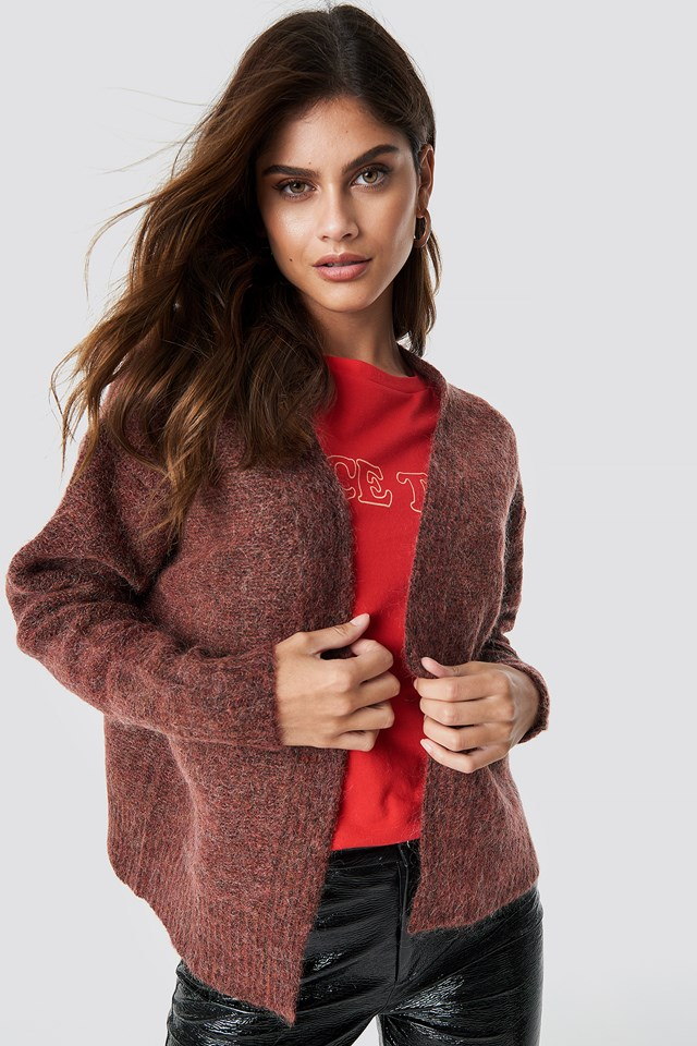 Wool Blend Short Cardigan Red