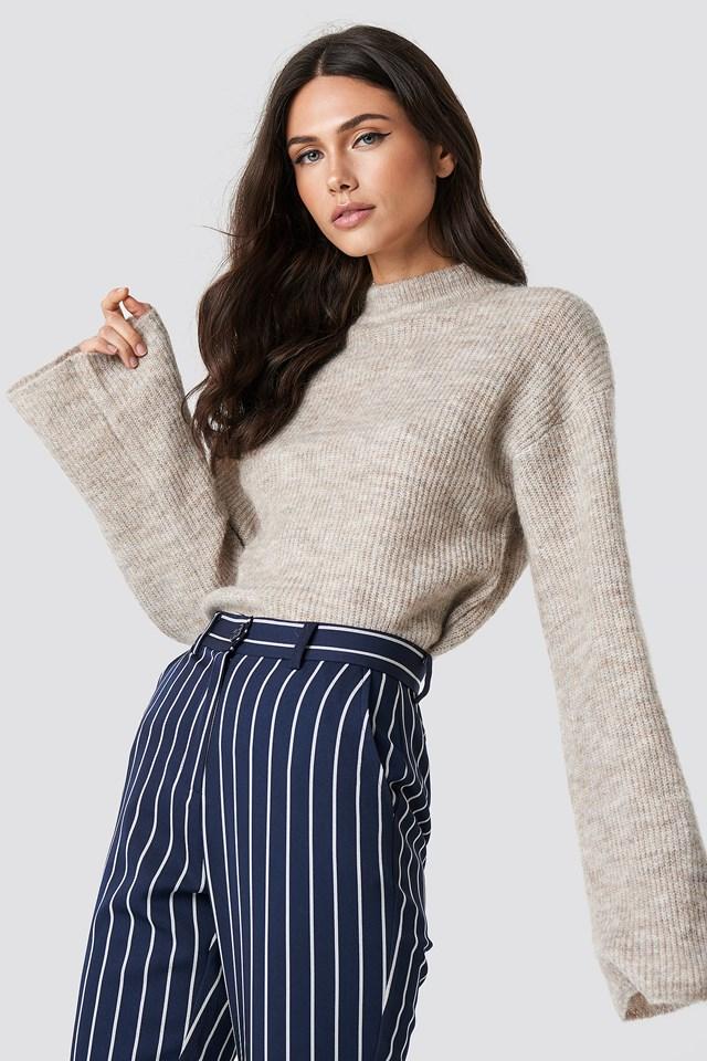Wool Blend Wide Sleeve Sweater Beige