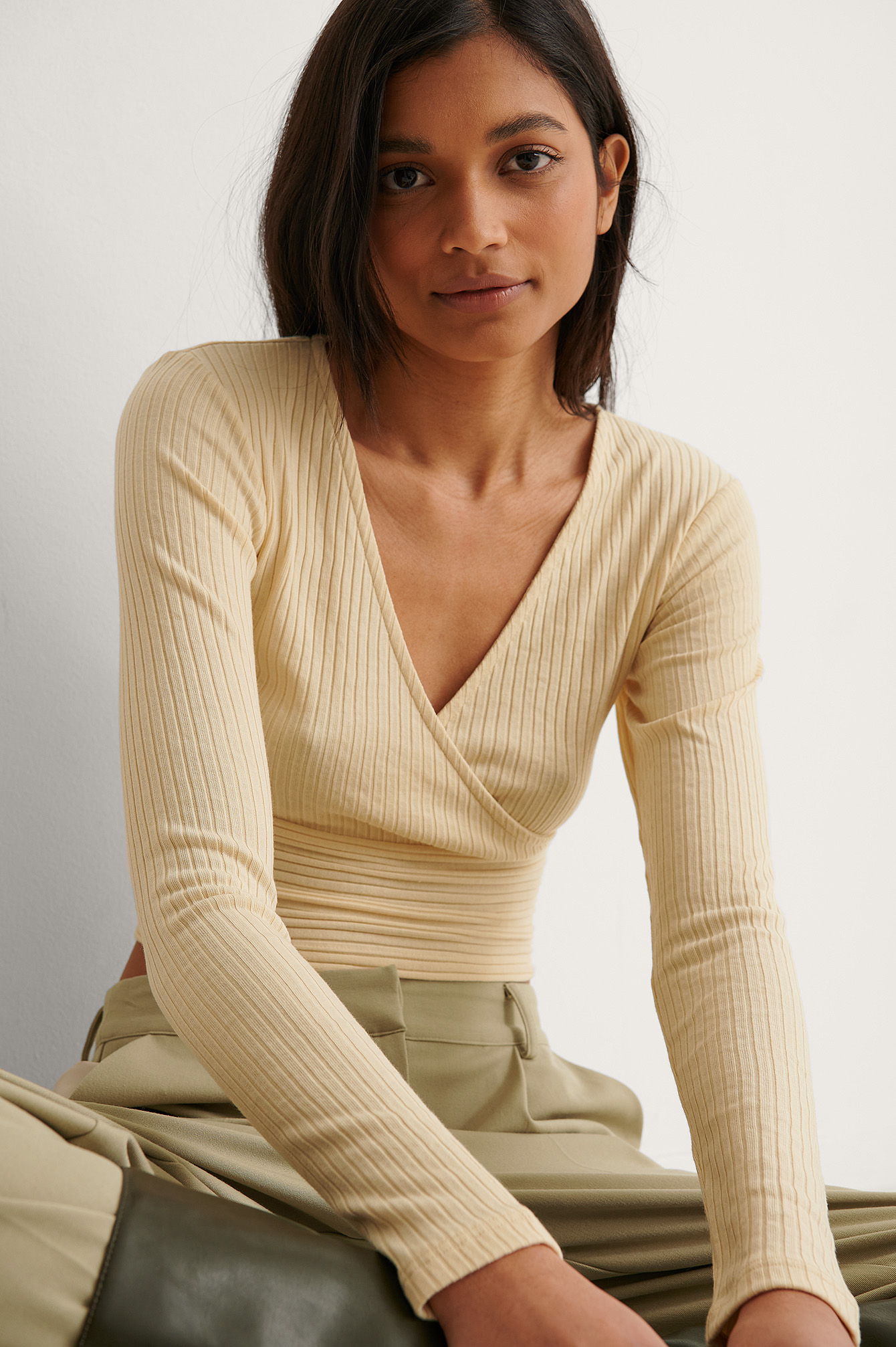Light Yellow Wrap Detail Ribbed Top