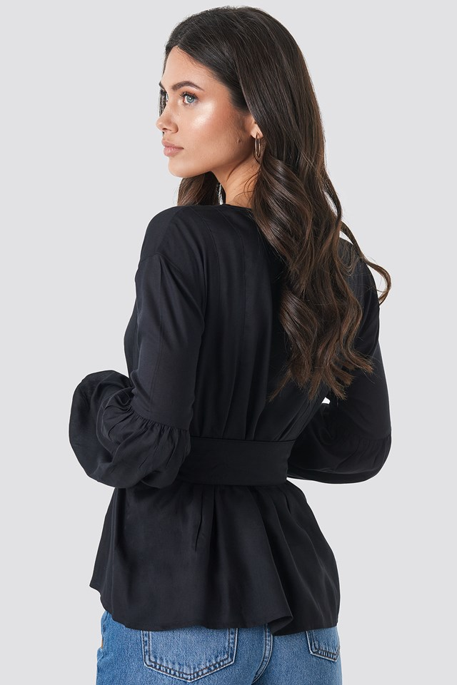 Wrap Front Fitted Waist Blouse Black