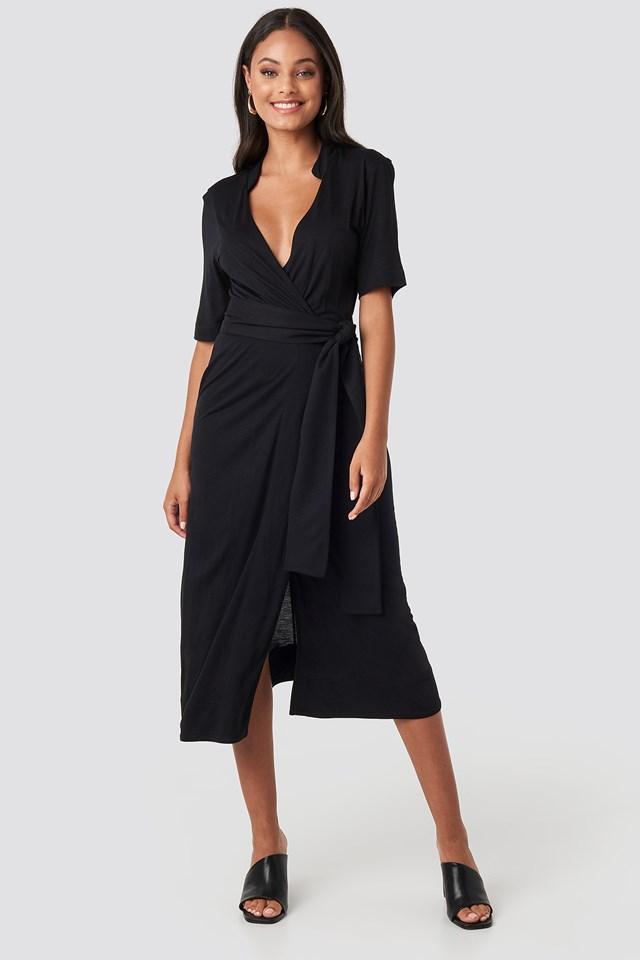 Wrap Jersey Midi Dress Deep Black