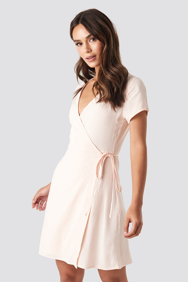 Wrap Mini Dress Beige