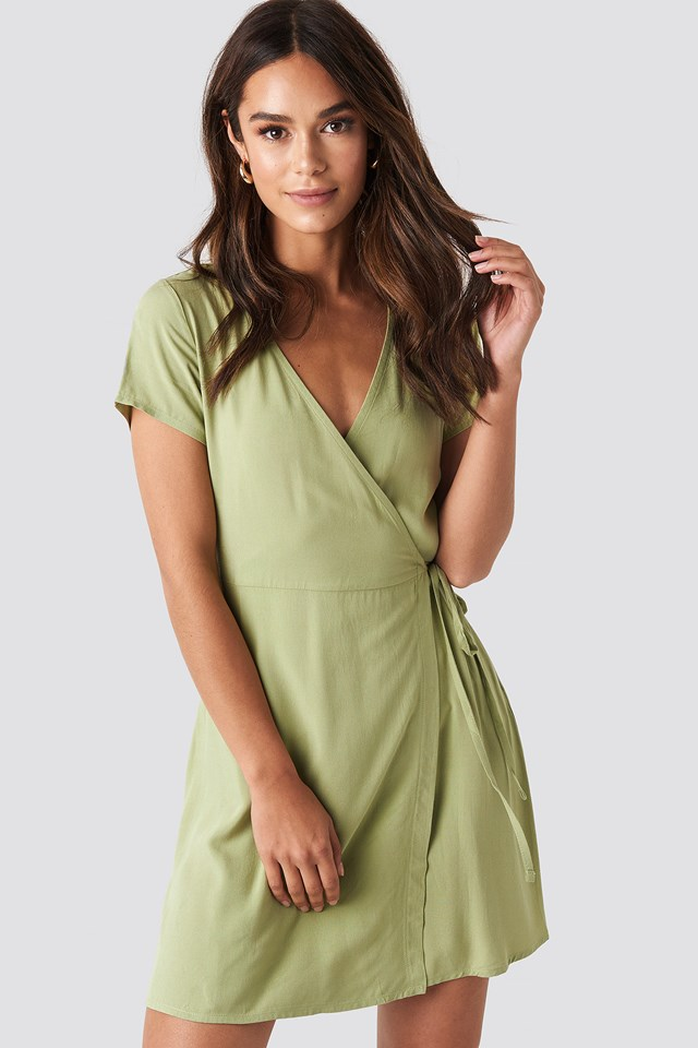 Wrap Mini Dress Khaki