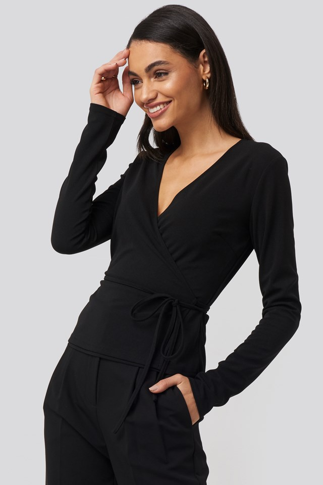 Wrap Over Long Sleeve Top NA-KD