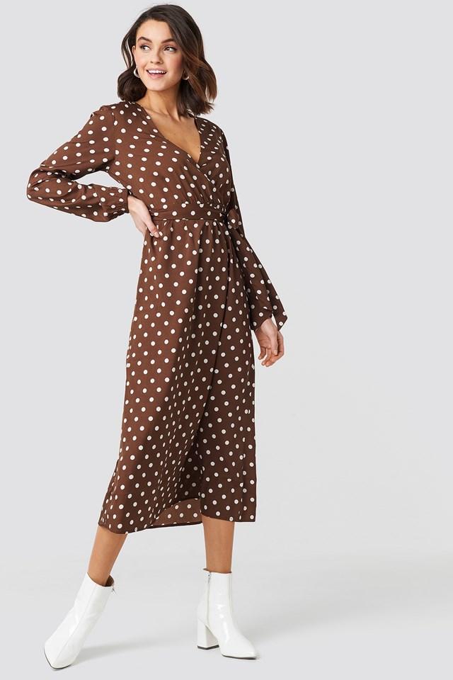 Wrap Over Tie Waist LS Dress Brown Dots