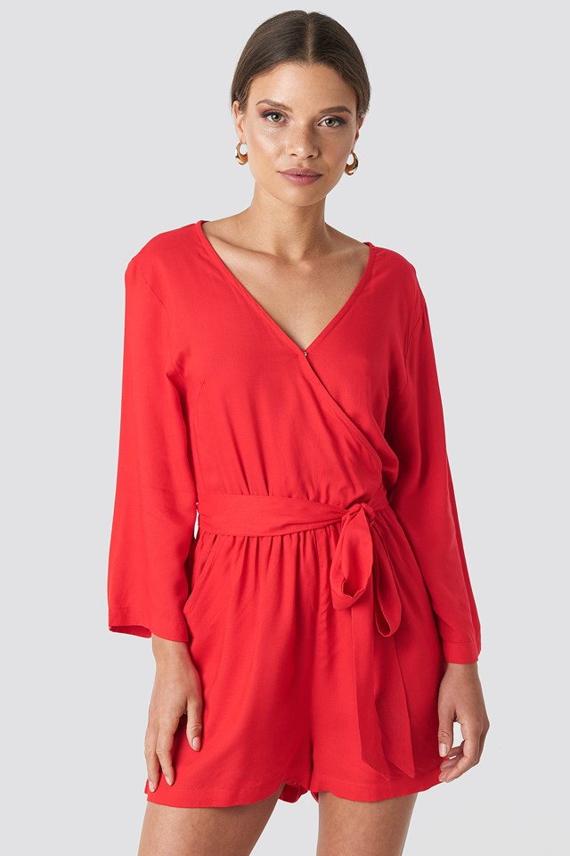 Wrap Playsuit Red