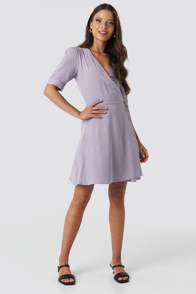 Wrap Puff Sleeve Mini Dress Grey