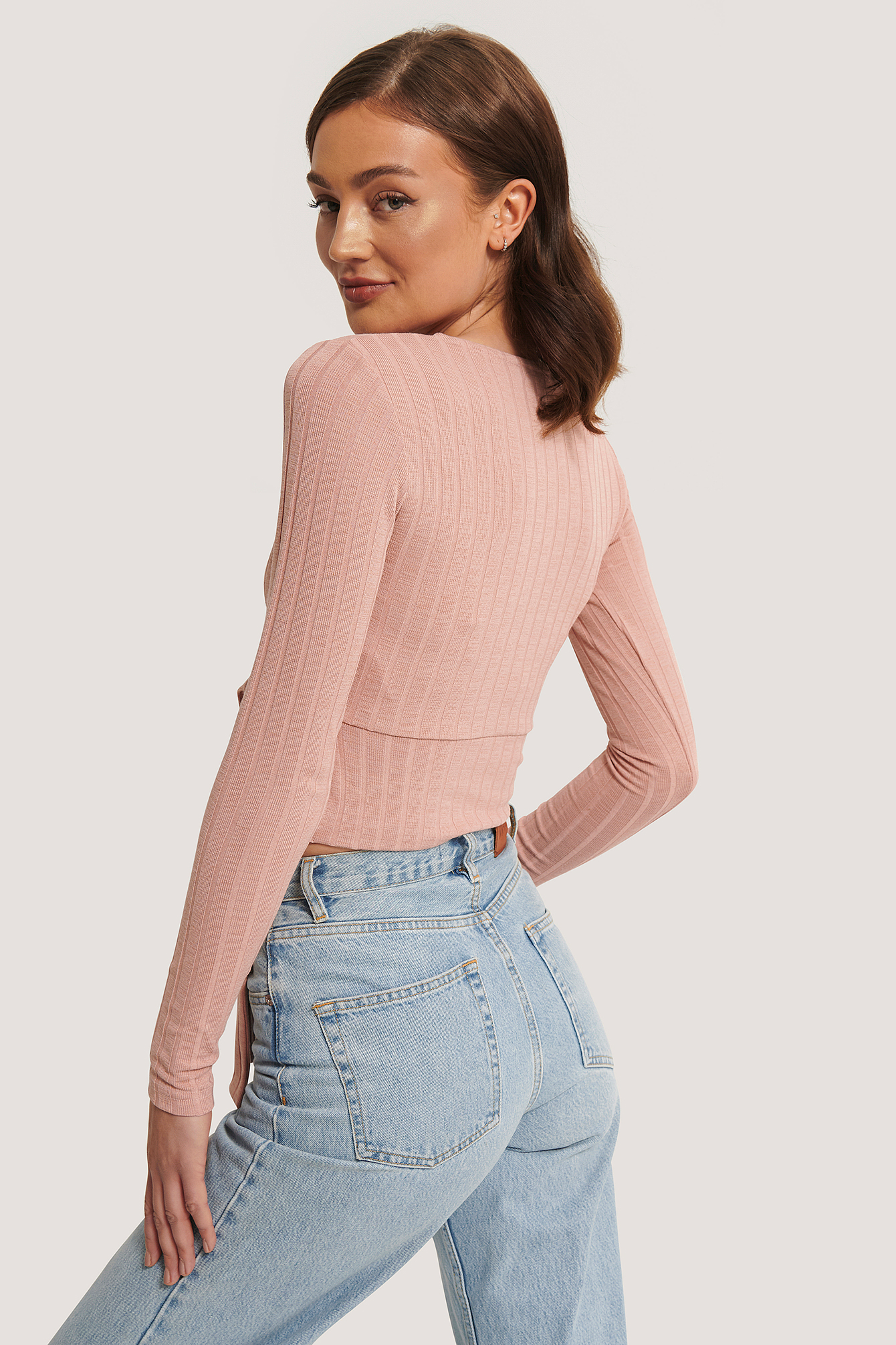 Dusty Pink Wrap Rib Tie Top