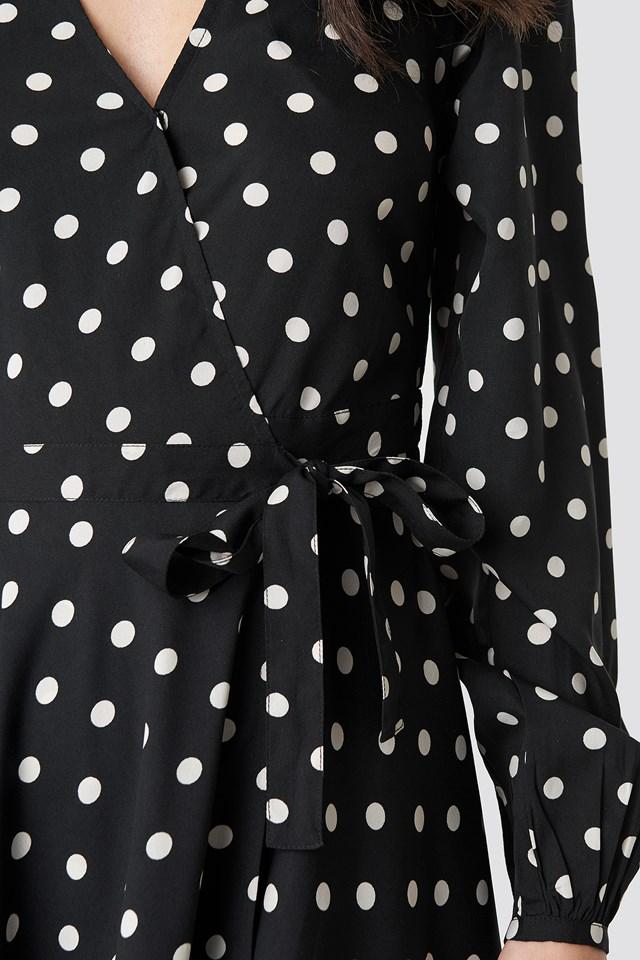 Wrapped Dot Midi Dress Black/White dots