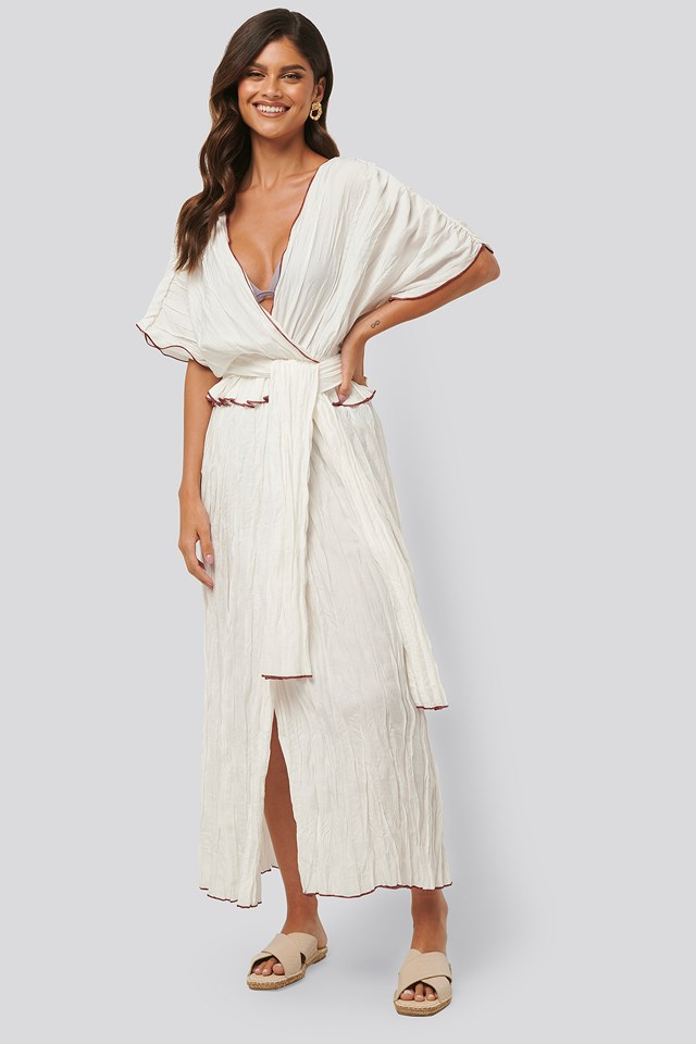 Wrinkle Effect Maxi Dress White
