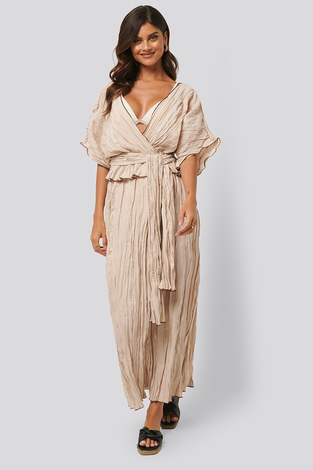 Wrinkle Effect Maxi Dress Beige