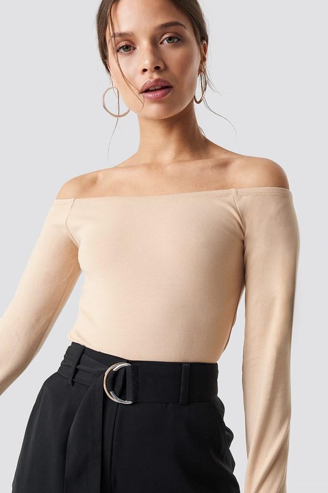 Basic Off Shoulder Top Beige
