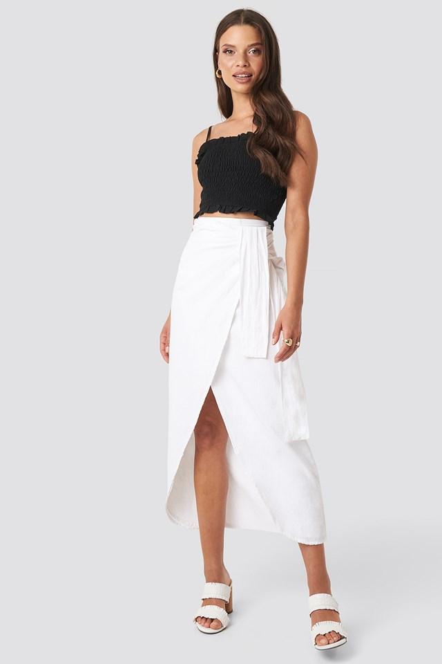 Paula Linen Look Skirt White