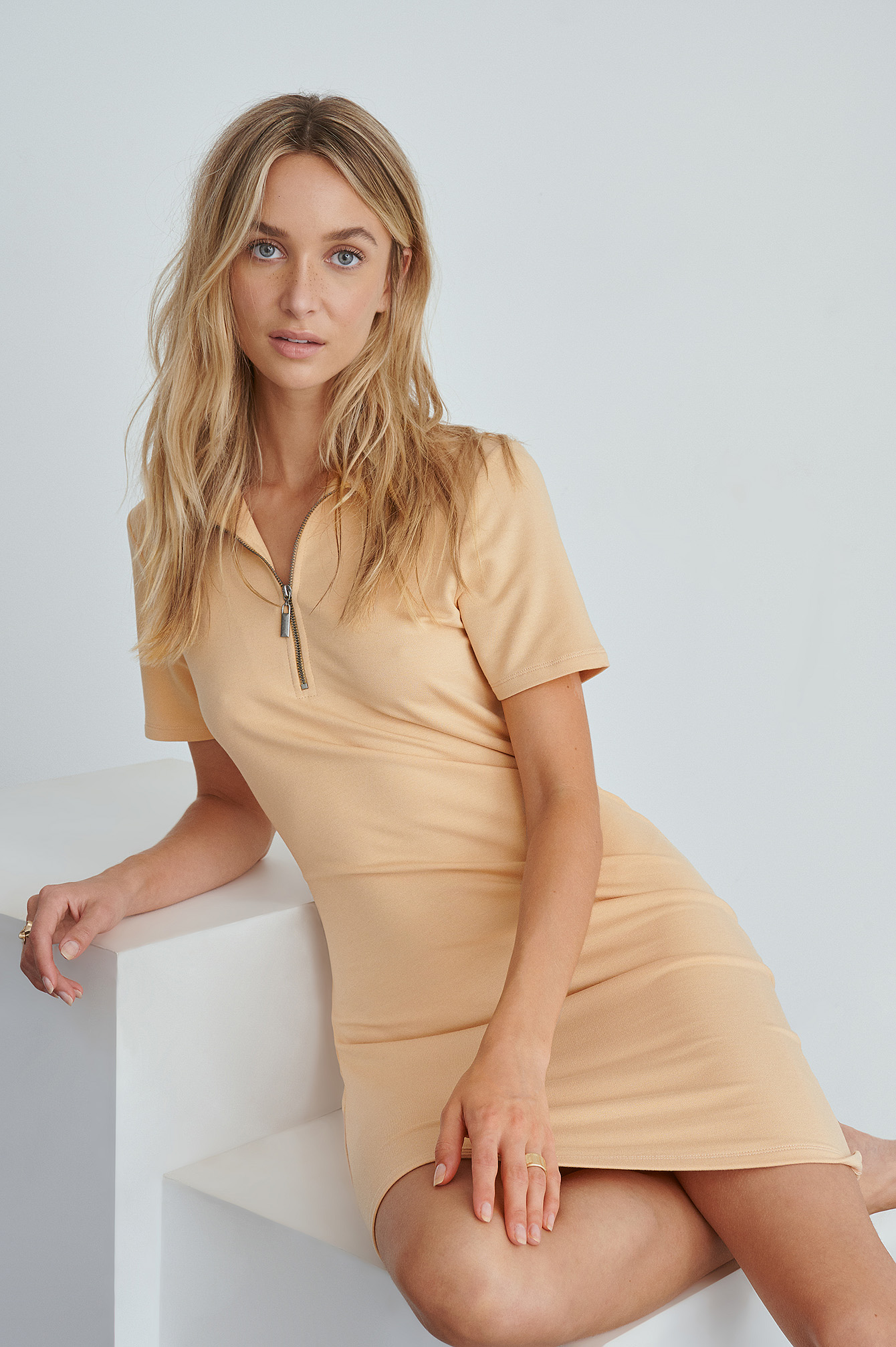 Beige Zip Collar Mini Dress