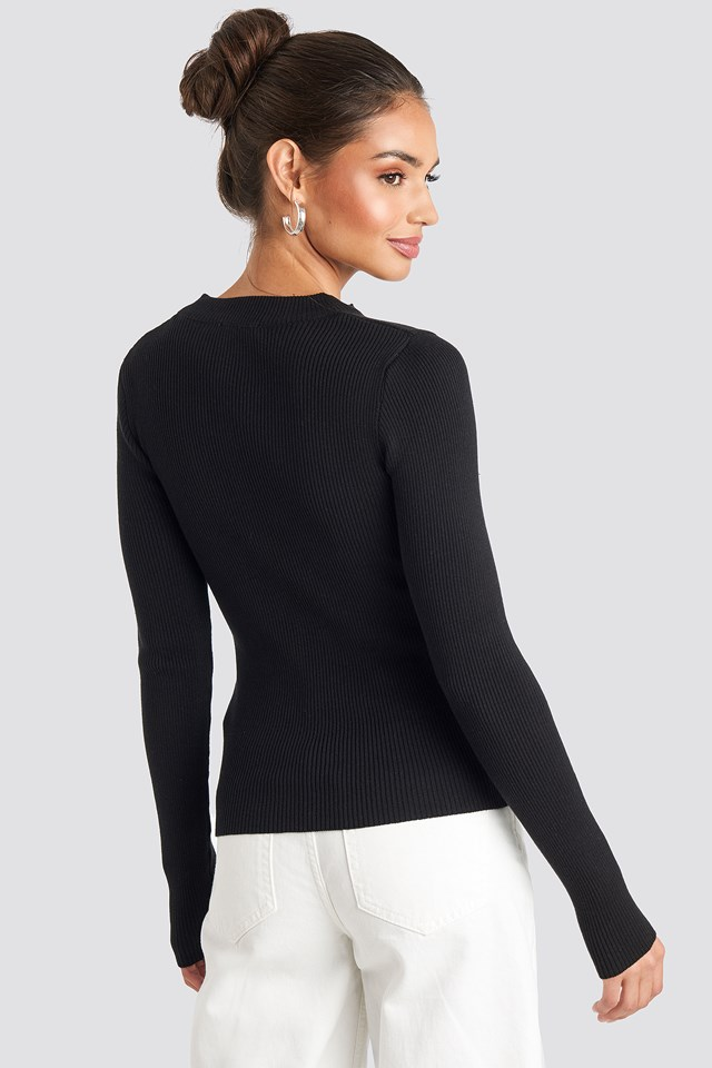 Zip Knitted Sweater Black