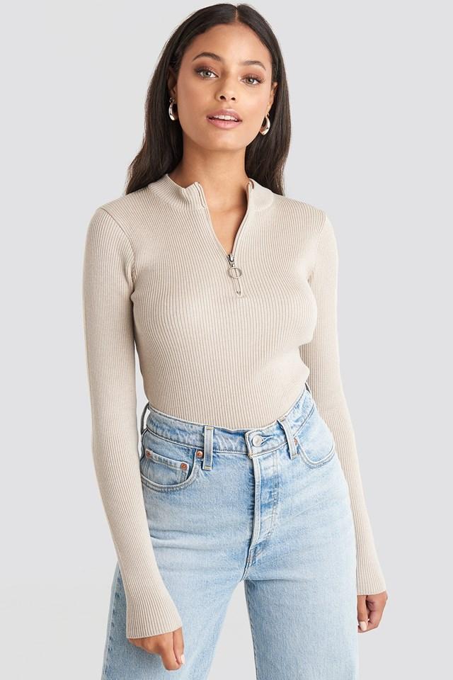Zip Knitted Sweater Beige