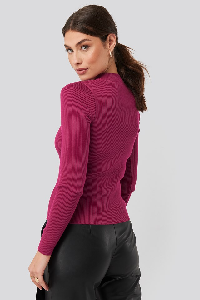Zip Knitted Sweater Pink