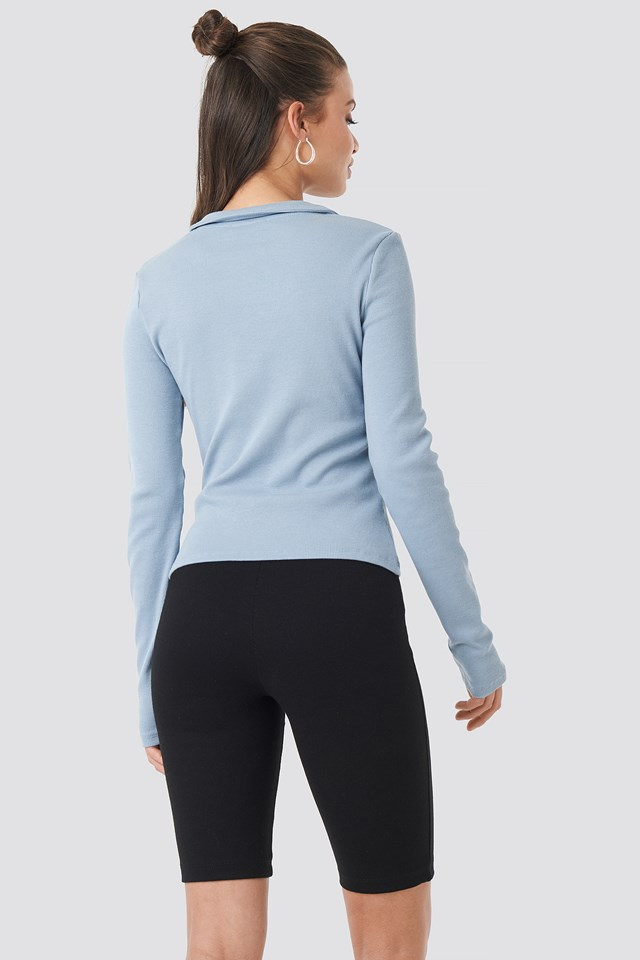 Zipped Ribbed Top Dusty Light blue