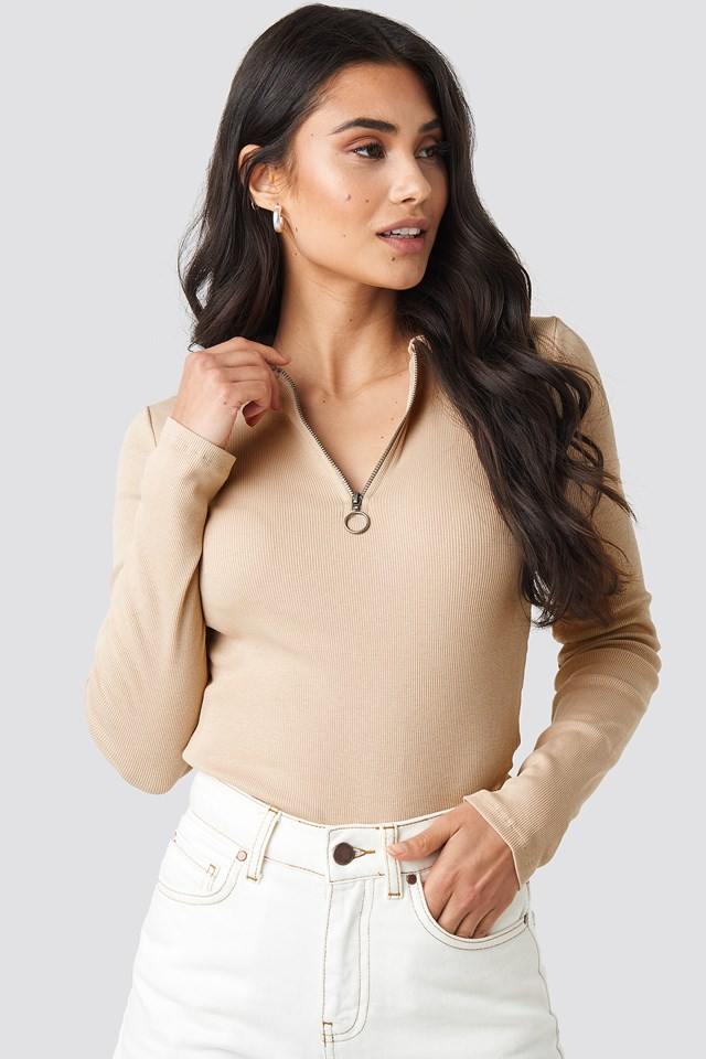 Zipped Ribbed Top Light Beige