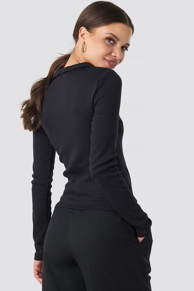 Zipped Ribbed Top Black