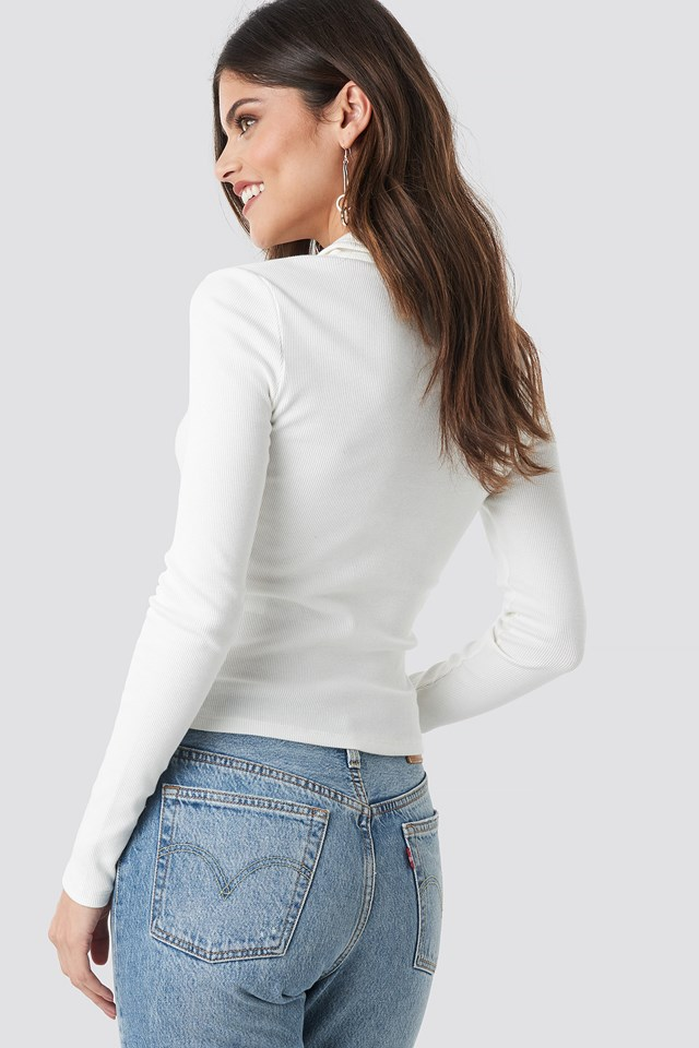 Zipped Ribbed Top Offwhite