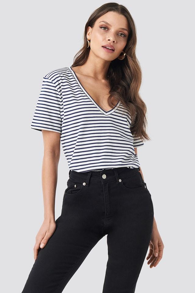 Cotton Striped V-neck Tee Navy