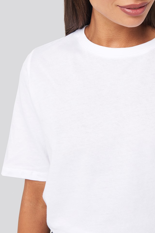 High Round Neck Tee White