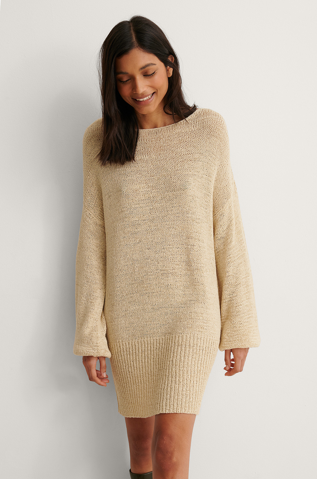 Light Beige Tape Yarn Long Knitted Sweater