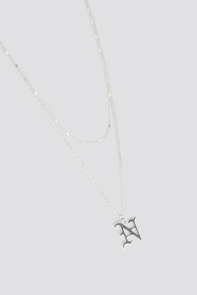 N Necklace Silver