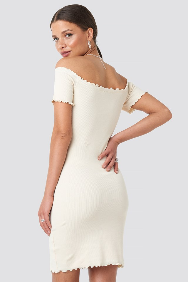 Off Shoulder Ribbed Dress Light Beige