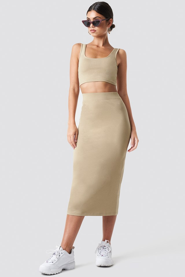Basic Midi Skirt Chestnut