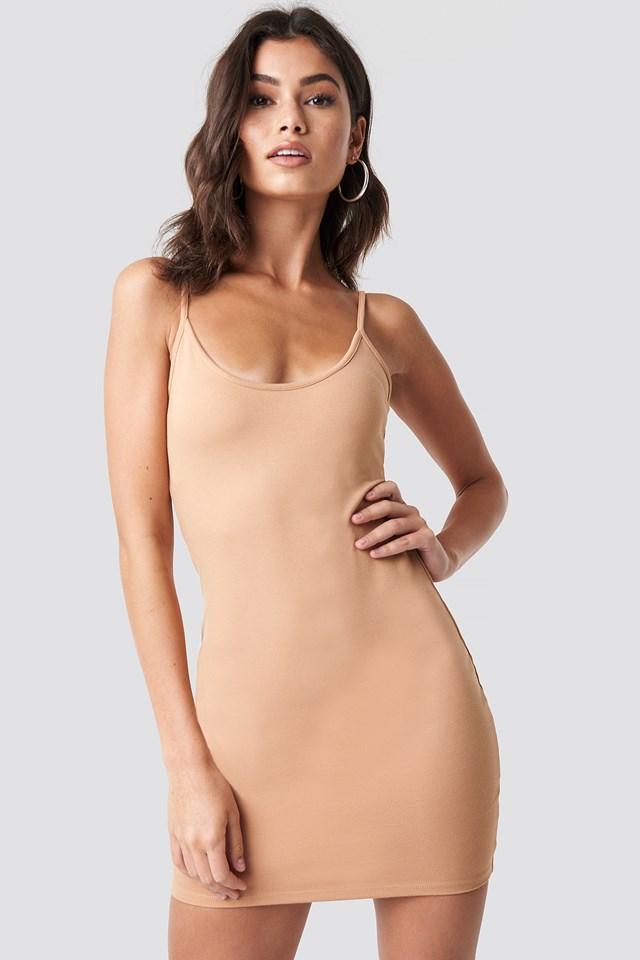 Thin Strap Bodycon Dress Tan