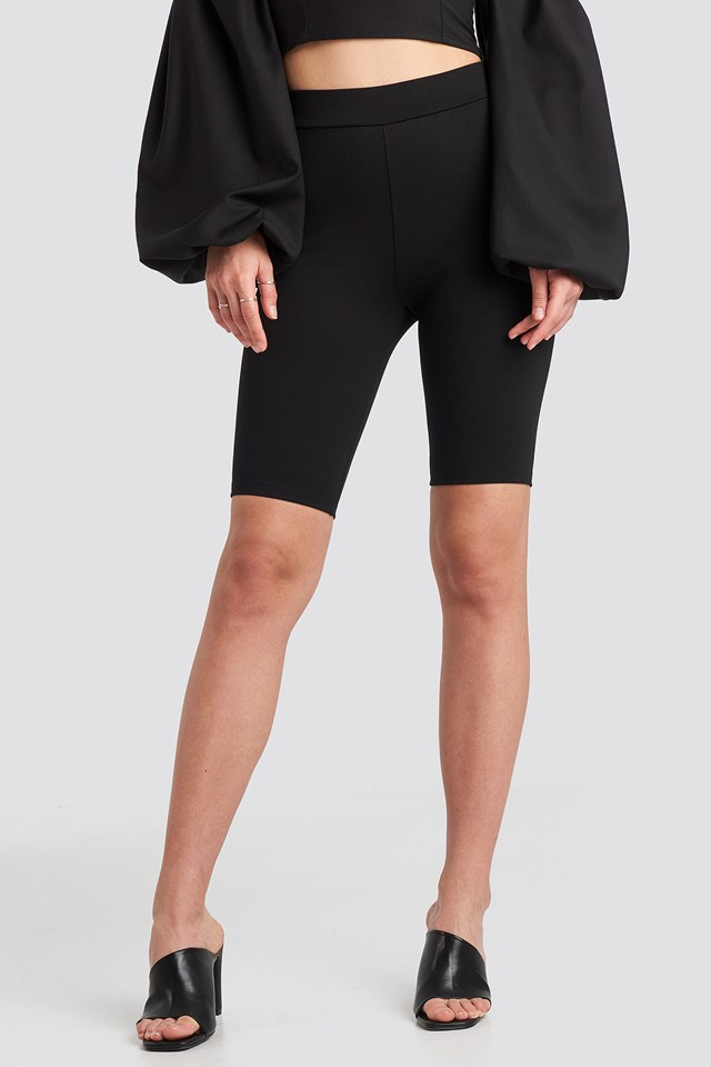 Fitted Long Shorts Black