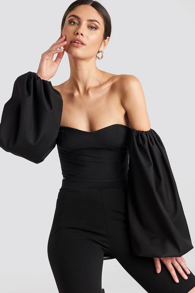 Off Shoulder Puff Sleeve Blouse Black