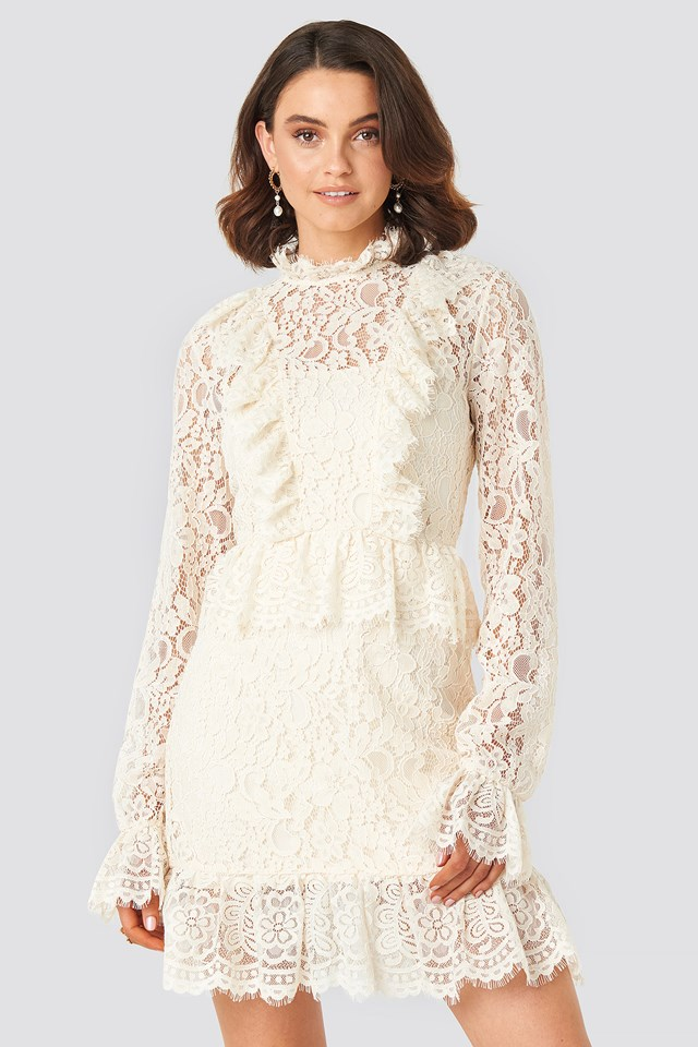 Frill Detailed Mini Lace Dress Off White